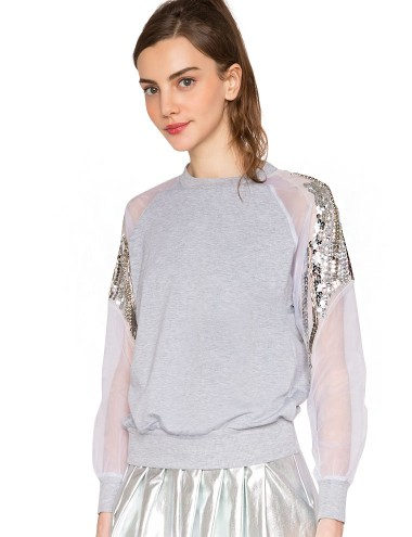 Organza Sequin Sweatshirt Crew Neck Sweatshirts 48