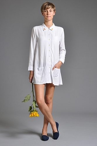 Handsom Leo Shirt Dress White someplace