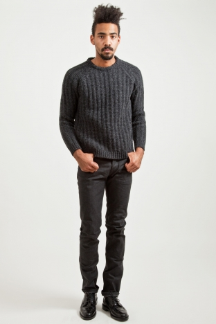 Our Legacy Heavy Knitted Round Neck Sweater Charcoal TRES BIEN