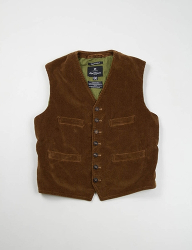 Brown 8 Wale Cord Farm Vest Nigel Cabourn