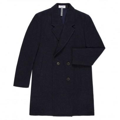 Paul Smith Men's Coats Navy Double Breasted Hand Tailored Wool Coat