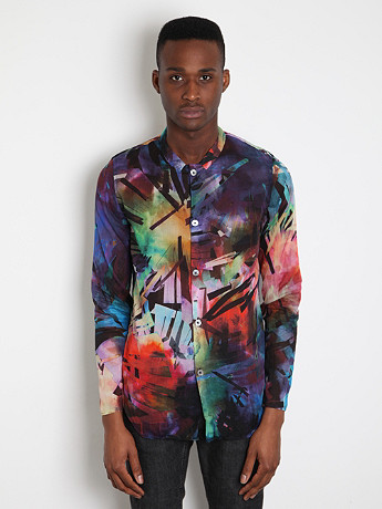 Paul Smith Men's Printed Drop Collar Shirt In Multicolour At Oki Ni