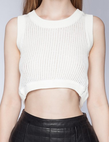 Summer Knit Top White Cutout Top Cute Ivory Top 39