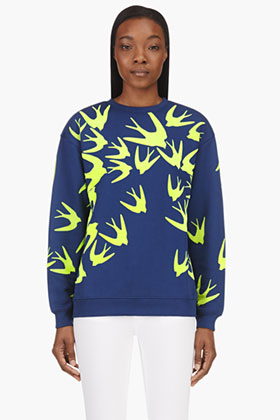 Mcq Alexander Mcqueen Blue Yellow Velvet Flocked Swallow Sweatshirt For Women Ssense