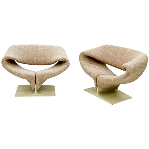 Pair Of Vintage Ribbon Lounge Chairs Pierre Paulin For Artifort At 1Stdibs