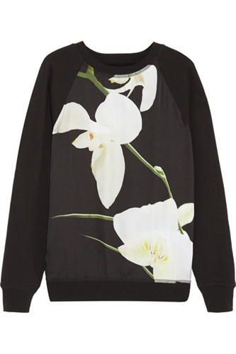 Altuzarra For Target Orchid Print Georgette And Cotton Blend Sweatshirt Net A Porter.Com