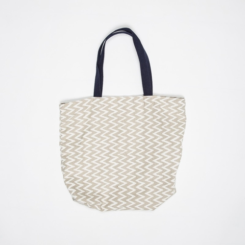 The Hill Side Linen Zig Zag Tote Bag Beige Www.Atoo.Co.Uk