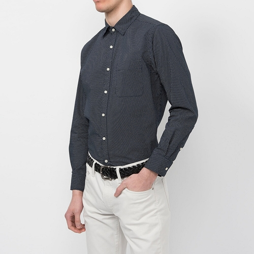 Men Broadcloth Printed Long Sleeve Shirt Uniqlo Uk Online Fashion Store
