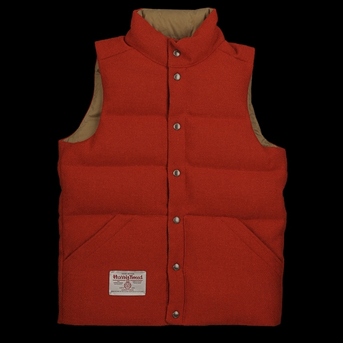 Unionmade Beams Harris Tweed Down Vest In Orange