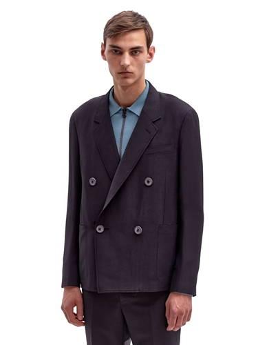 Lanvin Men's Oversized Double Breasted Technical Jacket Ln Cc