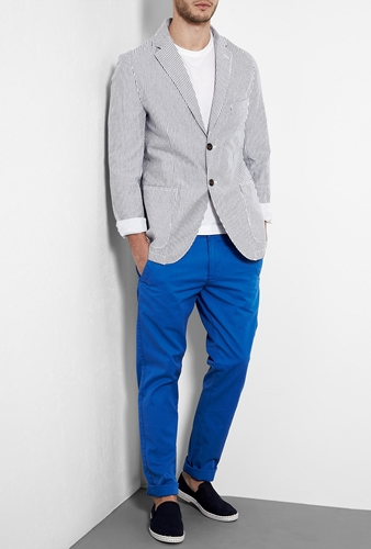 Knowledge Cotton Apparel Blue Striped Light Twill Blazer by Knowledge Cotton Apparel
