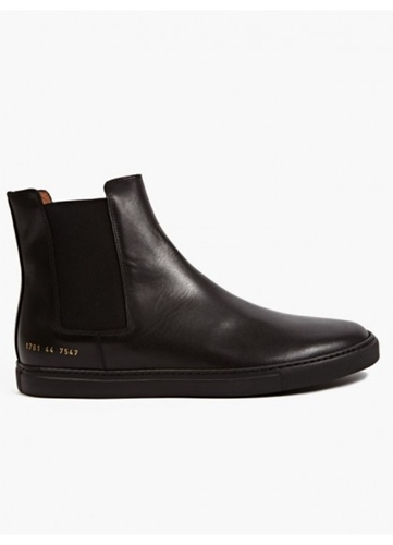 Common Projects Men's Black Leather Chelsea Rec Boots Oki Ni