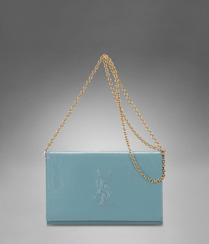 Ysl Logo Wallet With Chain In Skye Blue Patent | Nuji