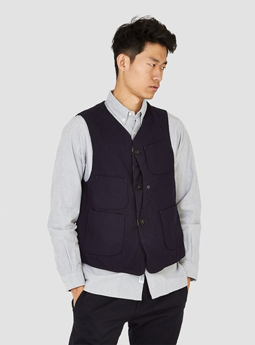 Upland Vest Navy Wool Serge Couverture The Garbstore