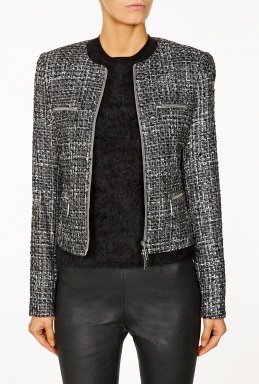Michael Kors Gunmetal Foil Plaid Zip Jacket By Michael Michael Kors