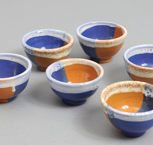 3 Dipped Bowl Rust Cobalt Hickoree's