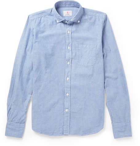 Incotex Cycling Reflective Trimmed Chambray Oxford Shirt Mr Porter
