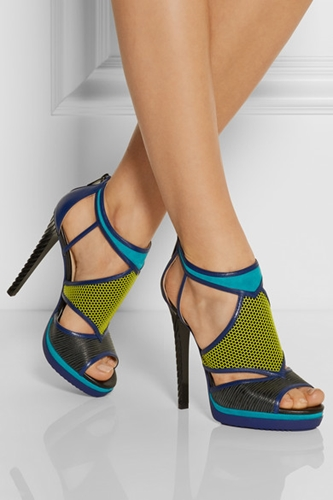 Jimmy Choo Lythe Honeycomb Leather And Suede Sandals Net A Porter.Com