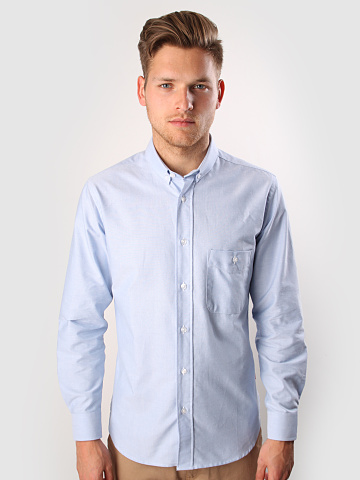 Quality Blanks Blue Oxford Button Down QB08 FreshCotton com