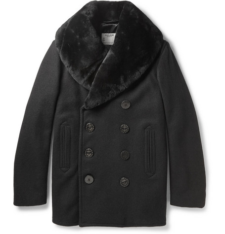Schott Thompson Shearling Collar Wool Blend Peacoat Mr Porter