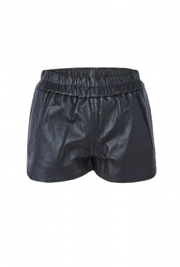 Ganni Black Leather Shorts By Ganni