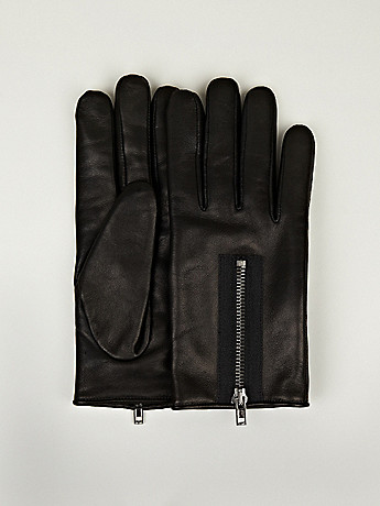 Maison Martin Margiela 10 Men s Zip Leather Gloves in black at oki ni