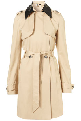 Premium Leather Collar Trench Topshop