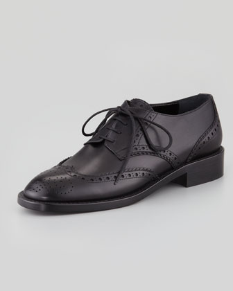Saint Laurent Leather Wing Tip Lace Up Neiman Marcus