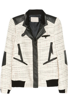 Jason Wu Leather trimmed tweed bomber jacket NET A PORTER COM