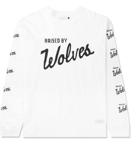 Raised By Wolves White Varsity Logo L S T Shirt Hypebeast Store. Shop Online For Men's Fashion Streetwear Sneakers Accessories