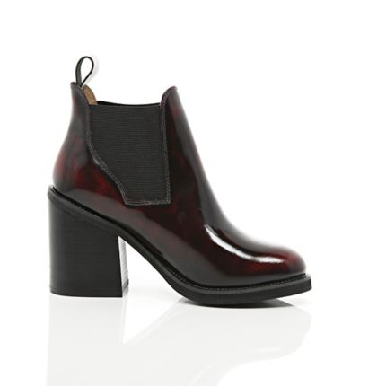 Red Block Heel Chelsea Boots Ankle Boots Shoes Boots Women