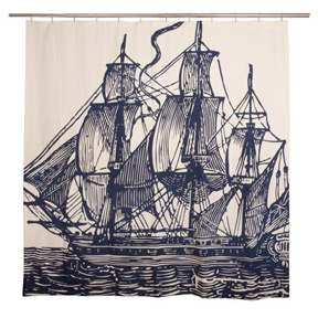 Thomas Paul Ship Shower Curtain at Velocity Art And Design Your home for modern furniture and accessories in Seattle and the US
