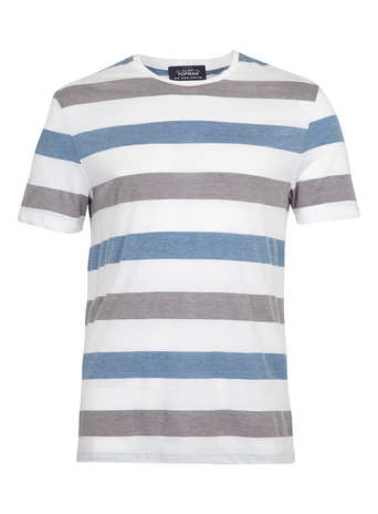 Grey And Blue Stripe T Shirt Men's T Shirts Vests Clothing Topman