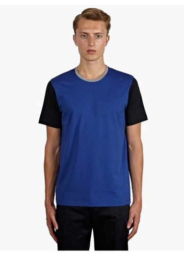 Men's Blue Contrast Sleeve T Shirt