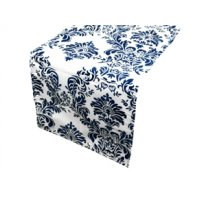 Damask Flocking Table Runner Navy Blue