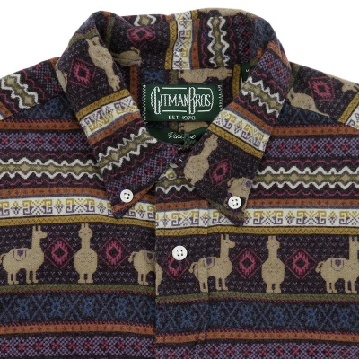 Gitman Vintage Aztec Jacquard Flannel Shirt Purple
