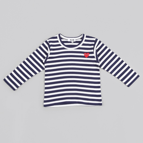 Comme Des Garcons Play Kids Striped T Shirt Navy White