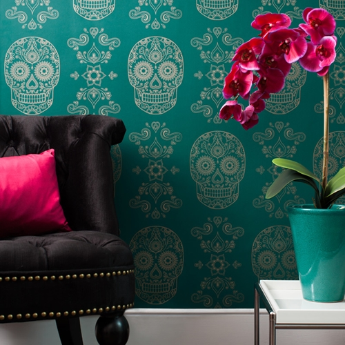 Day Of The Dead Sugar Skull Wallpaper Emerald Gold Street Anatomy Gallery Store