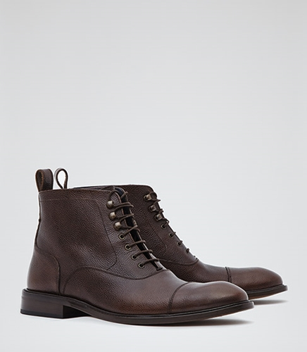 Cali Dark Brown Pebbled Leather Boots Reiss