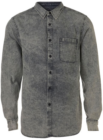 Marble Washed Denim Shirt Mens Shirts Clothing TOPMAN