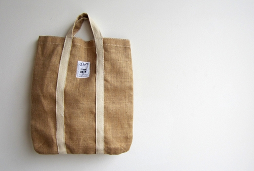 School of hemp jute tote bag