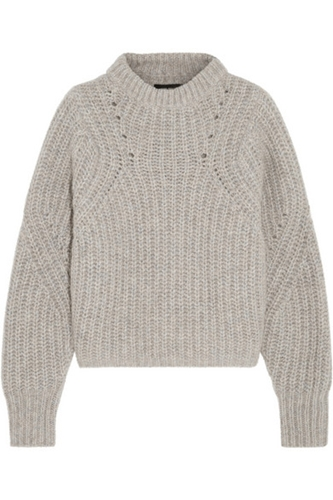 Isabel Marant Newt Oversized Melange Ribbed Knit Sweater Net A Porter.Com