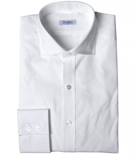 Classic Cut Semi Spread Collar Single Cuff Shirt Shirts Drakes London