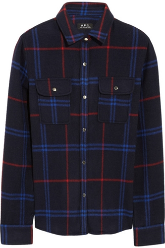 A.P.C. Atelier De Production Et De Creation Plaid Wool Blend Felt Shirt Net A Porter.Com