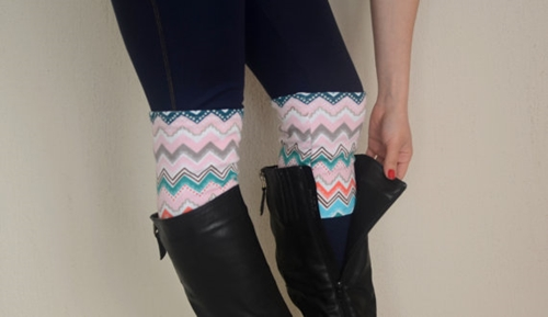 Chevron Strechy Double Layers Boot Cuffs Boho Boot Socks By Bstyle