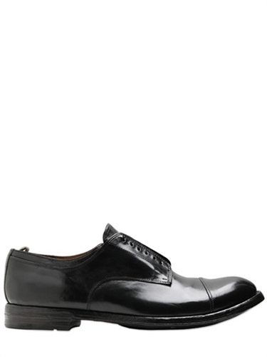 Officine Creative Brushed Leather Laceless Derby Shoes Luisaviaroma Luxury Shopping Worldwide Shipping Florence