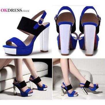 Black And Blue Fashion High Heeled Sandals Shoes By Okdresstrends