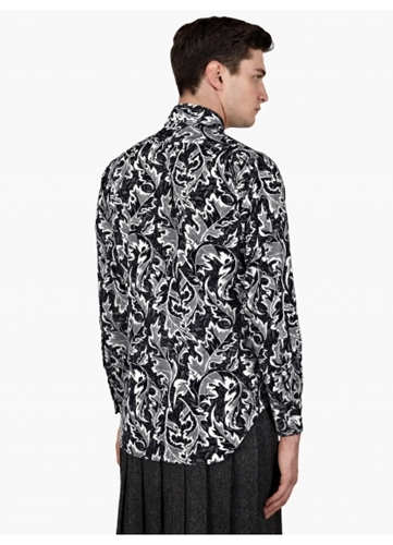 Thom Browne Men's Blue Corduroy Leaf Print Shirt Oki Ni