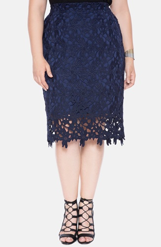 eloquii scallop lace pencil skirt plus size navy nuji
