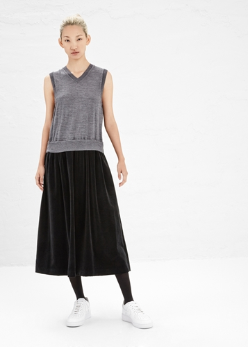 Totokaelo Comme Des Garcons Shirt Grey Black Sleeveless Velvet Dress